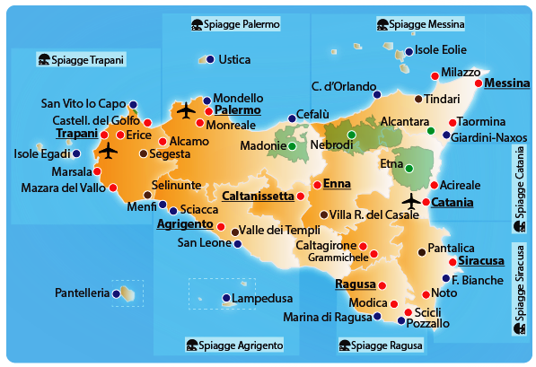 Cartina Sicilia Trapani.Map Sicily Sicilian Tours